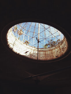 Looking trough a headlight in a palazzo, Palermo, Sicily, Italy - MEA000013