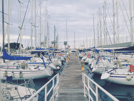 Yachts in the marina with pier, Palermo, Sicily, Italy - MEAF000047