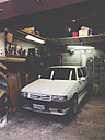 Car standing in garage of Palermo, Sicily, Italy - MEA000087