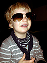 Little boy wearing mother's sunglasses, Palermo, Sicily, Italy - MEAF000072