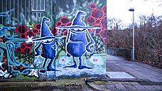 Graffiti, dam, Vaihingen-Enz, Baden-Wuerttemberg, Germany - SBDF000403
