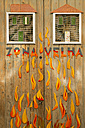 Portugal, Madeira, Funchal, painted door, flames - HL000365