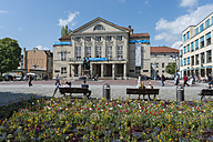 Germany, Thuringia, Weimar, View of German National Theatre and Goethe-Schiller Monument - HWOF000075