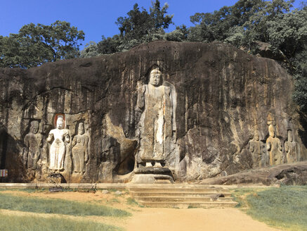 Buddha statues at Buduruvagala temple, Wellawaya in Monaragala district, Sri Lanka - DRF000381