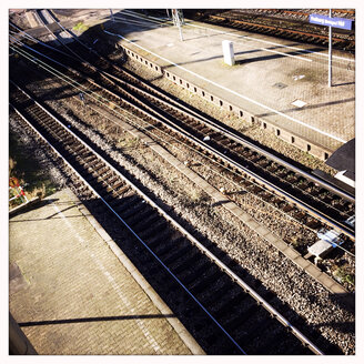 Railway tracks to the main train station in Freiburg im Breisgau, Baden-Wuerttemberg, Germany - DHL000300