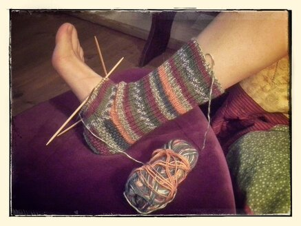 Even Knitted socks with wool and needles to walk, Laupheim, Baden-Wuerttemberg, Germany, Europe - HAF000250