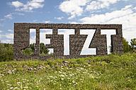 Germany, North Rhine-Westphalia, Kamen, art project Ueber Wasser Gehen at Seseke, Jetzt by Christian Hasucha - WI000302