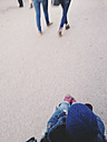 View of the world of a toddler in a buggy, Girls, Munich, Bavaria, Germany - GSF000718