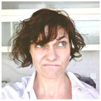Selfie of an Middle Aged Woman having a Bad Hair day, Berlin, Germany - MVC000052