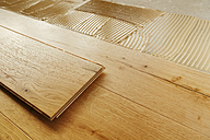 Laying finished oak parquet flooring, close-up - BIF000296