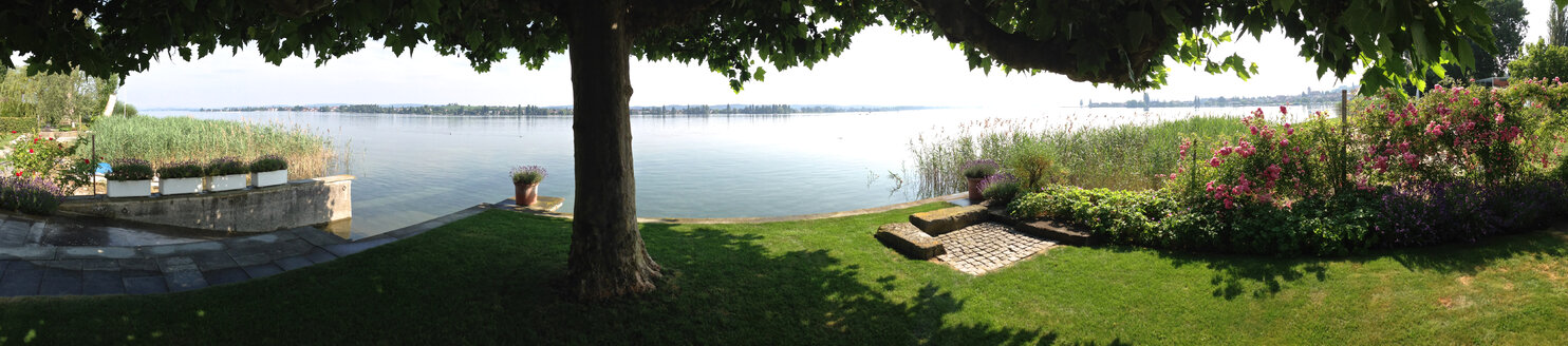 Panorama of garden on the shores of Lake Constance, Switzerland, Thurgau, Ermatingen - JEDF000071