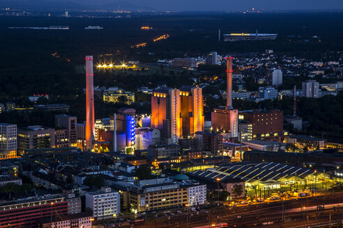 Germany, Hesse, Frankfurt, industrial area at night - TI000010