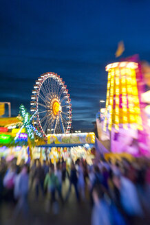 Germany, Bavaria, Munich, fairground at Oktoberfest at evening twilight - LB000510