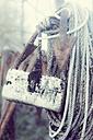 Germany, Mecklenburg-Western Pomerania, Ruegen, Fishing rope in winter - MJF000554