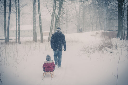Father pulling sledge with son in snow - MJF000698