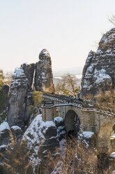 Germany, Saxony, Saxon Switzerland, Bastei in winter - MJF000731