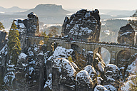 Germany, Saxony, Saxon Switzerland, Bastei in winter - MJF000734