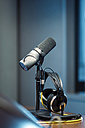 Microphone and headphones in a recording studio - LB000517