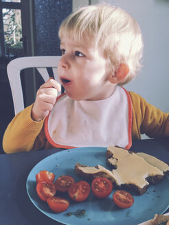 Toddler eating bread with cheese and tomatoes, Bonn, NRW, Germany - MFF000771