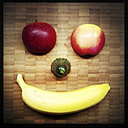 Two half apples, a cucumber and a banana, laughing fruit, - ZMF000138