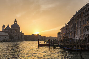 Italy, Venice, Canale Grande, Church Santa Maria della Salute at sunset - FOF005816