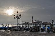 Italy, Venice, Gondolas and church San Giorgio Maggiore at dawn - FOF005928