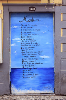 Portugal, Madeira, Funchal, door, wall with poem - VT000073