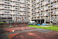 United Kingdom, England, Bristol, playground in front of building - DIS000436