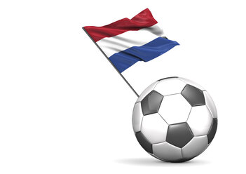 Football with flag of Netherlands, 3d rendering - ALF000114