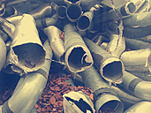 Germany, Bavaria, old exhaust pipes, scrap - LAF000469