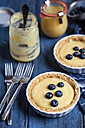 Lemon tartes decorated with blueberries, spoons, empty and full glass of lemon curd on blue wooden table - SBDF000494
