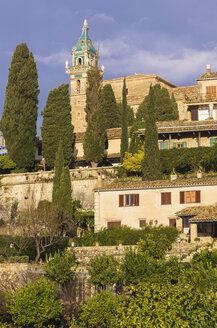 Spain, Balearic Islands, Mallorca, Valldemossa, S'Arxiduc, Church spire - THAF000018