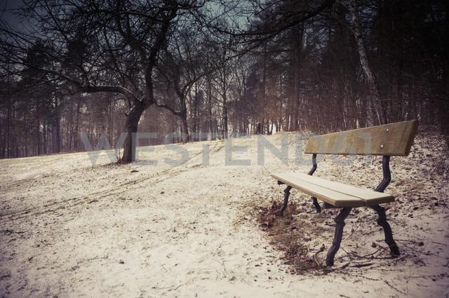 Germany, bench at winter landscape - MJF000760 - Jana Mänz/Westend61