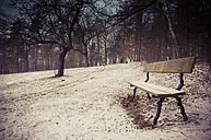 Germany, bench at winter landscape - MJF000760