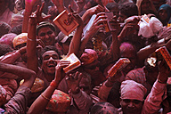 India, Uttar Pradesh, Vrindavan, people during Holi, spring festival, festival of colours - JBA000023