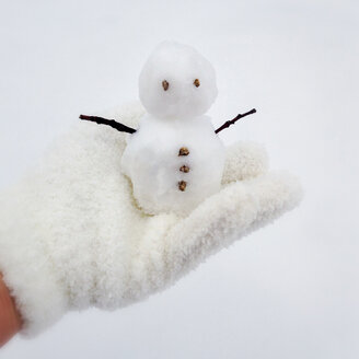 Little Snowman on hand with white glove - MVC000091