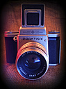 old analogue camera, Practisix with lens Carl Zeiss Jena Biometar 2,8/80, studio - HOH000419