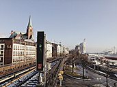 View of the track body of the subway at river Elbe Vorsetzen, office buildings, Hamburg, Deutscland - SEF000542