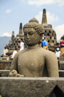 Indonesia, Java, statue of Buddha in a half-opened stupa, Borobudur Temple - KRP000277