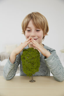 Germany, Boy sitting at table with tree models, environmental conservation - FSF000105