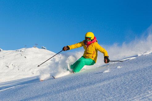 Switzerland, Graubuenden, Obersaxen, female Skier - EGF000018