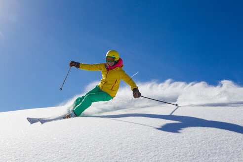 Switzerland, Graubuenden, Obersaxen, female Skier - EGF000021