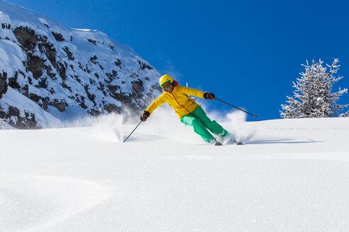 Switzerland, Graubuenden, Obersaxen, female Skier - EGF000038