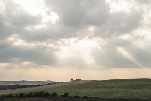Italy, Tuscany, cloudy sky over rolling hills - PAF000346