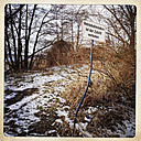 Prohibition sign, bent, overgrown, Brandenburg, Germany, - ZMF000205