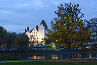 Germany, Bavaria, Ingolstadt, New Castle at Danube river and Klenzepark the evening - LB000540