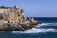 Spain, Balearic Islands, Majorca, Santanyi, view to steep coast - THAF000043