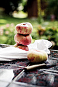 Stacked vineyard peach and knife on garden table - SBDF000581