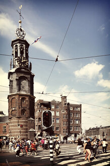 Netherlands, Amsterdam, view to Muntplein with bell tower - HOH000464