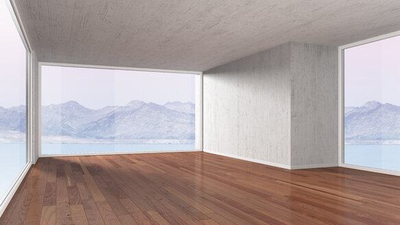 Empty room with parquet flooring, 3D rendering - UWF000023